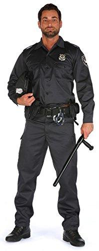 Herren US Cop Kostüm Uniform 5-teilig Chicago und New York Police in kurz- und langarm, Größe:Hemd L. Hose L;Farbe:schwarz (Halloween Uniform Cop)