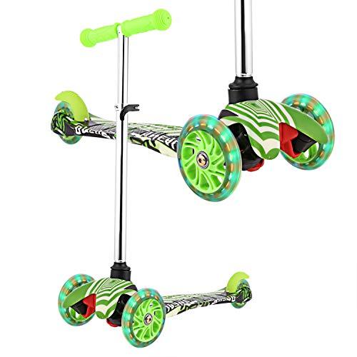 WeSkate Kinderroller Mädchen Kick Roller Kinder- 3 Rad Kinderscooter Kleinkind mit Graffiti Deck Einstellbar Mini Roller Dreirad ab 2-9 Jahre (Grün)