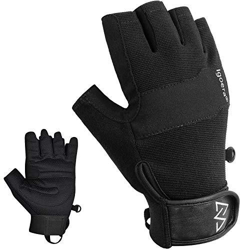 Igoera Kletterhandschuhe mit hochwertigen u. robusten Nähten, Fingerhandschuhe zum Klettern u. Bouldern für mehr Grip u. Schutz am Fels u. an der Wand, Unisex (XL)
