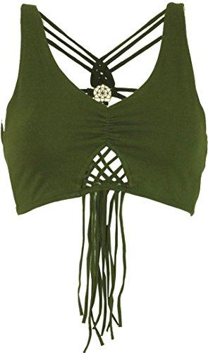 Guru-Shop Goa Psytrance Bikini Top, Boho Top, Pixi Top, Fransentop, Damen, Olive, Synthetisch, Size:38, Tops, T-Shirts, Shirts Alternative Bekleidung - Damen Shop