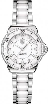 Tag Heuer etiqueta Heuer fórmula 1 Blanco Diamante Dial Acero y Cerámica Damas Reloj WAH1313.BA0868