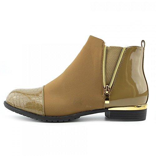 Kick Footwear - DELLE DONNE DELLE SIGNORE DI PIATTO CHELSEA ALLA CAVIGLIA DI LAVORO STIVALI CASUAL ELASTICO TIRARE SCARPE Khaki