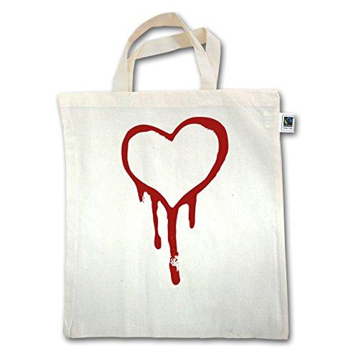 Shirtracer Symbole - Blutendes Herz - bloody heart - Unisize - Natural - XT500 - Jutebeutel kurzer Henkel (Herz Blutendes)