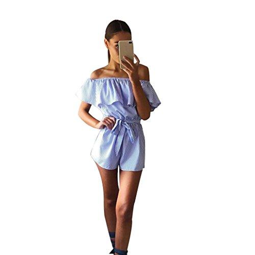 Frauen, Frauen Sommer Fashion Rückenfrei Bodysuit Gestreift Jumpsuit