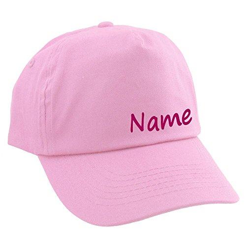 Junior Kinder CAP mit Namen oder Text personalisiert rosa