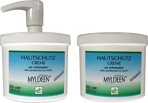MYLDEEN Hautschutz Creme 500 ml im Spender + 500 ml Nachfülldose Hautschutzcreme am Arbeitsplatz, Arbeitsschutzcreme Schutzcreme...