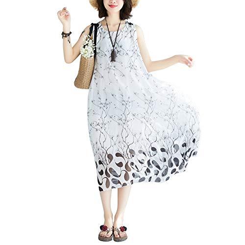 Kleid weiches dünnes helles Chiffon- Sleeveless Sommer-Strand-beiläufiges Kleid lösen Frauen ()