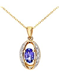 Revoni - 9ct Yellow Gold Tanzanite Diamond Pendant Necklace with 46cm Chain
