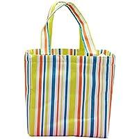 Preisvergleich für Yudanwin Leinwand-Lunch-Tasche Kreative Gestreifte Studenten-Tragbare Wasserdichte Lunchbox-Tasche (Grün)
