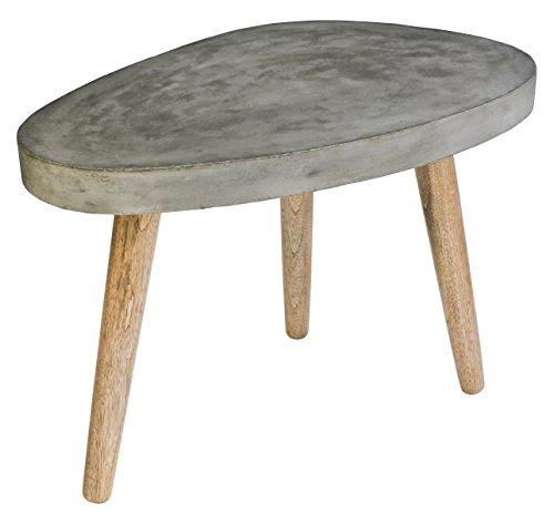 SIT-möbel table basse 9970–13 cement 50 x 72 x 52 cm, pieds en chêne et plateau, gris béton léger