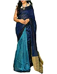 NAKSH KHADI BOUTIQUE Women's KHADI Linen Pure Sari Heart Of Bengal_looms Handwoven 100 Count Made Of Organic Thread...