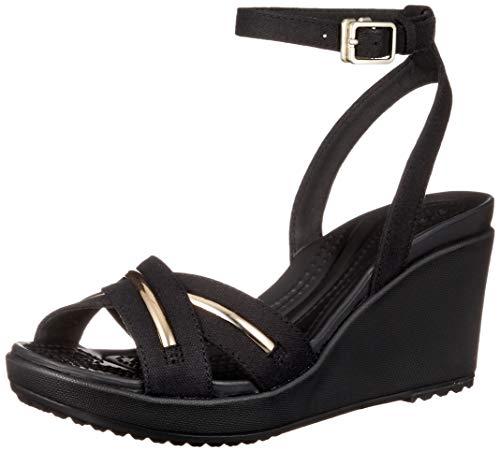 crocs Women'S Leigh Ii Metalblock Cross-Strap Ankle Wedge -
