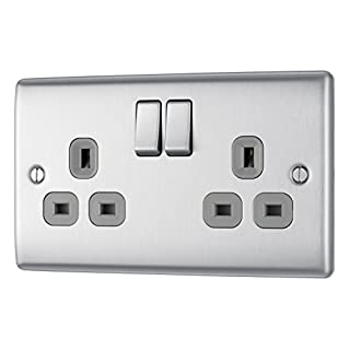 Masterplug NBS22G-01 13 A 2-Gang Metal Brushed Steel Double Pole Switched Socket - Grey Insert - brushed steel grey insert