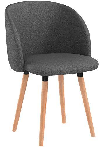 WOLTU 4 x Esszimmerstühle 4er Set Esszimmerstuhl Küchenstuhl Polsterstuhl Design Stuhl mit Armlehne, mit Sitzfläche aus Leinen, Gestell aus Massivholz, Dunklegrau, BH120dgr-4