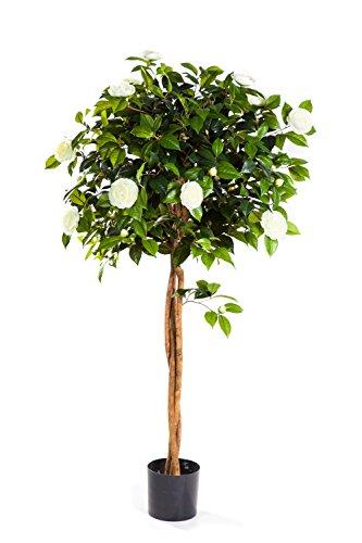 artplants Set 2 x Deko Kamelien Baum mit 890 Blättern, 105 Blüten, weiß, 130 cm – Kunstblume Kamelie/Kunstbaum