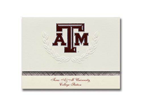 Signature Ankündigungen Texas A & M University-College Station Graduation Ankündigungen, platin Stil, Elite Pack 20mit Texas A und m-college Station ATM Dichtung Folie Texas A&m University Atm