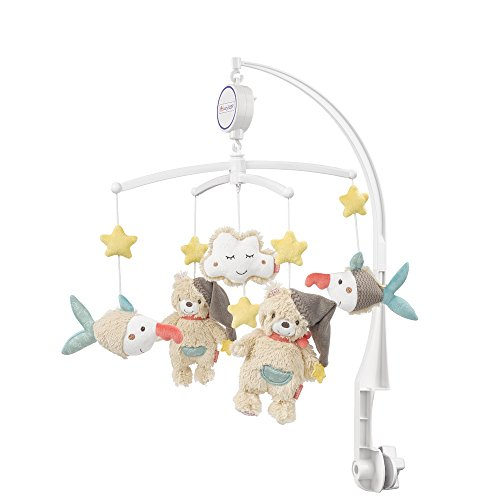 Fehn 060249 Musik-Mobile Bruno | Spieluhr-Mobile mit niedlichen Figuren zum Beobachten, Lauschen & Staunen | Zum Befestigen am Bett für Babys von 0-5 Monaten | Höhe: 65cm, ø 40cm