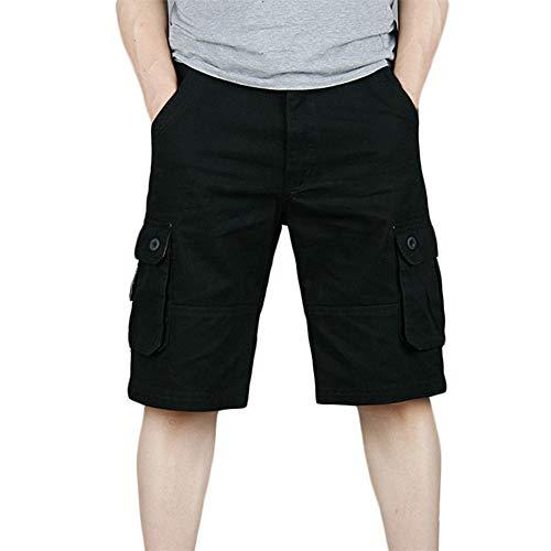 Aiserkly Herren Sommer Baumwolle Multi-Pocket Overalls Shorts Cargo Kurze Arbeitshose Pleated Freizeithose -