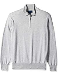 Buttoned Down Men's Supima Cotton Quarter-Zip Sweater