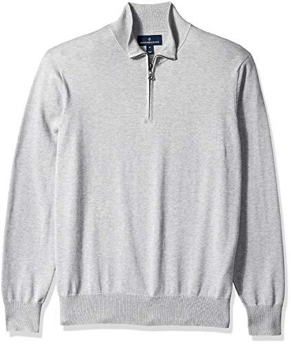 Buttoned Down Supima Cotton Quarter-Zip Sweater pullover-sweaters, grey, US M (EU M)