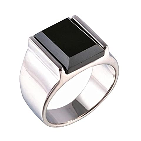 PAURO Mens Stainless Steel Black Onyx Rings Silver Vintage Size P 1/2
