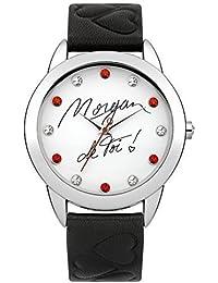 Morgan De Toi reloj De Mujer MAR1163B con esfera De color blanco, De color negro De la correa De cuero De imitación y promociones por Dial