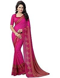 CRAFTSTRIBE Étnica Partido Indio de la Sari Rosa Ropa de la Boda Vestido de Bollywood Sari