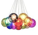 Modern Pendelleuchte Höhenverstellbar Pendellampe Kristall Hängelampe Bunte Glas Hängeleuchte mit für Kinderzimmer Wohnzimmer Kronleuchter, Inklusiv Glühbirne