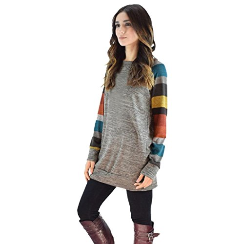 Kobay Mode Frauen Lose Striped Splice Oansatz Langarm Gestrickte Beiläufige Tunika Sweatshirt Tops T-shirt Kleid