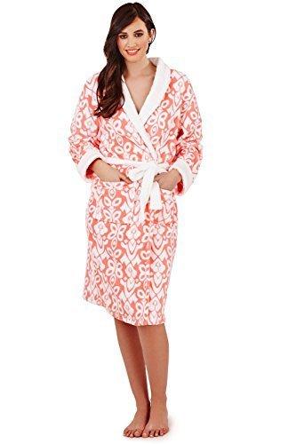 Donna Loungeable Floreale Tuta O Vestaglia Da Donna, Elegante Morbido Pile Abbigliamento Da Notte Corallo - Lungo Vestaglia