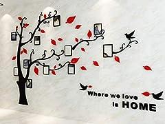 Idea Regalo - Alicemall Adesivo da Parete in Acrilico Rimovibile a Forma di Albero con Rami Incurvati e Cornici Porta Foto Rosse Foglie