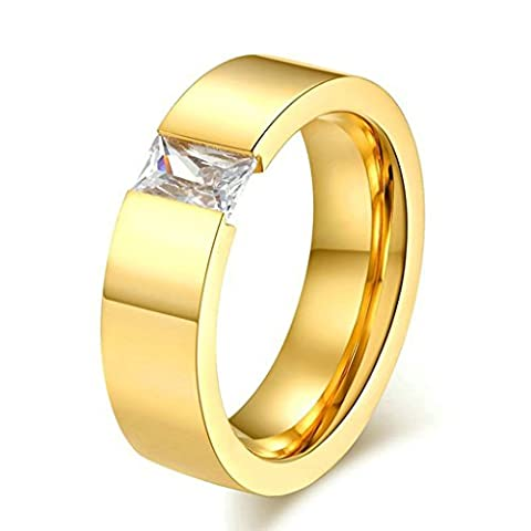 AMDXD Jewelry Stainless Steel Women Engagement Rings Gold Square,Free Lettering,Size