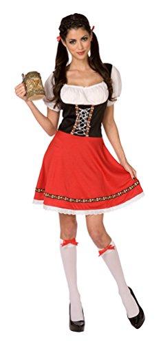 Dirndl Kostüm Damen Kleid rot-schwarz Oktoberfest Trachten-kleid Damen Dirndl kurz Bayern-Kleid Tirolerin Damenkostüm 36/38 (Rot Und Schwarz Kleid Kostüm)