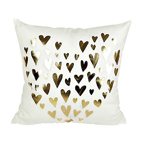 Fodera per cuscino divano,bellissimo coprimaterasso in cotone stampato a forma di cuore copriletto cuscino decorativo coprisedia federa per divano, letto, auto,bianca,45 * 45cm
