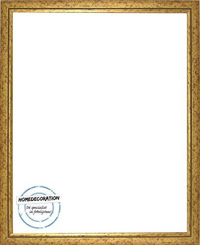 Napoli Bilderrahmen Massivholz mit vintage patiniertem Cottage Look und goldfarbener Innenkante 80 x 160 cm hochwertige Leiste 160 x 80 cm Farbwahl hier: Gold mit Acrylglas Antireflex 2 mm