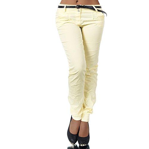 H981 Damen Chino Hose Stoffhose Haremshose Baggy Pumphose Boyfriend Hosen Gürtel, Farben:Gelb;Größen:S (Gürtel Hüft Leder)