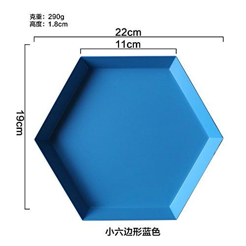 Bezigeorey Geometrische Spleißen Edelstahl Kombination Platte Trockene Frucht BonBon Nachtisch Fach, Kleine Sechseckige Blau (Fach Spleißen)