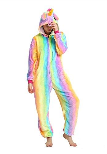 Mjtp unicorno pigiama unicorno costumi evento dress festival per adulti e bambini (arcobaleno, s)