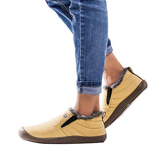JiaMeng para Hombre Zapatilla Baja Antideslizante, además de Terciopelo cálido algodón Zapatos Botas de Nieve Botines Zapatos de Felpa(Amarillo,EU43=CN44)