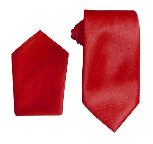 Satin Mariage Cravates avec Mouchoir Rouge