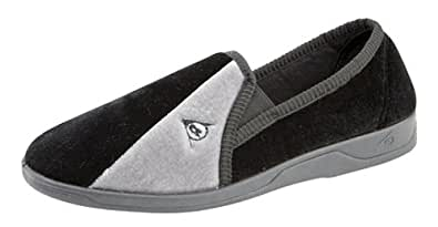 Mens famous DUNLOP WINSTON elasticated gusset slippers Black/Grey size 6
