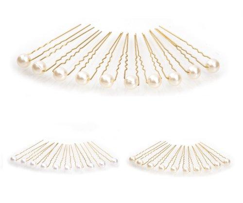 10 épingles à cheveux ornées de perles - accessoire pour cheveux/coiffure de mariée - Épingle à cheveux dorée - beige