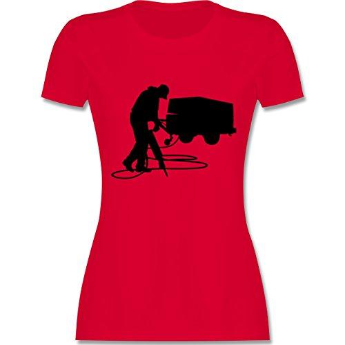 Handwerk - Bauarbeiter - tailliertes Premium T-Shirt mit Rundhalsausschnitt  für Damen Rot