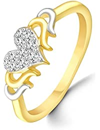 Classic Bonded Heart Diamond Studded Gold Plated Alloy Cz American Diamond Finger Ring For Women & Girls [CJFR1267G]