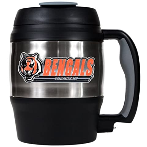 NFL Cincinnati Bengals 52-Ounce Stainless Steel Macho Travel Mug with Bottle Opener