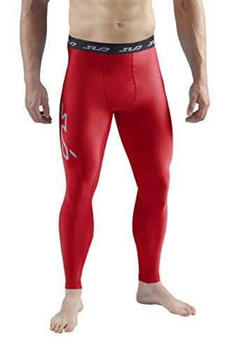 Sub Sports Herren Cold Kompressionshose Thermisch Funktionswäsche Base Layer lang, Rot, XL