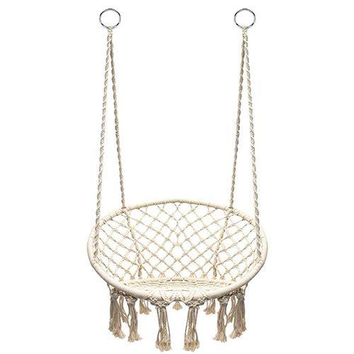 Hängesessel Indoor/Outdoor Handmade Hanging Cotton Rope Hänton Hängematte Lounge Swing Chair mit Spitze Schaukel 265 lb Kapazität für Patio Porch Schlafzimmer Garten
