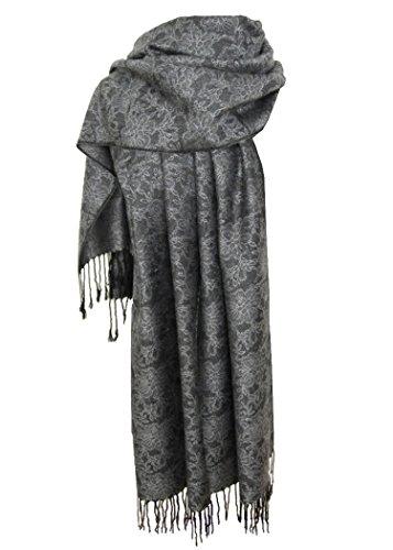 Nella-Mode Edler & Eleganter Schal, Stola; - Florales Muster; - Farbe: Anthrazit/Silber