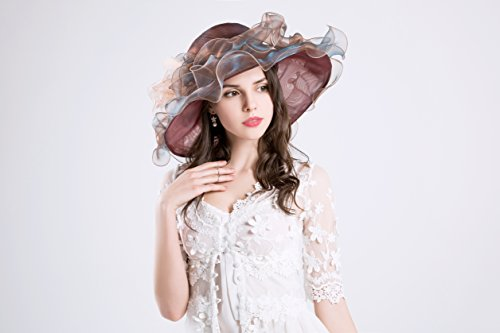 femme-kentucky-derby-chapeau-de-soleil-flower-wide-edge-gauze-hat-headdress-brown