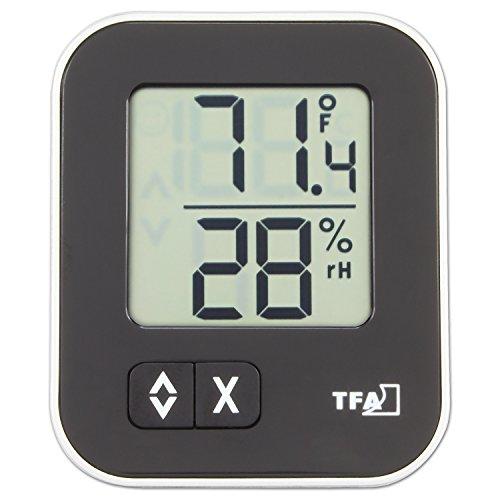 TFA Dostmann Moxx digitales Thermo-Hygrometer, 30.5026.01, zur Raumklimakontrolle, Überwachung der Luftfeuchtigkeit, klein und handlich, schwarz